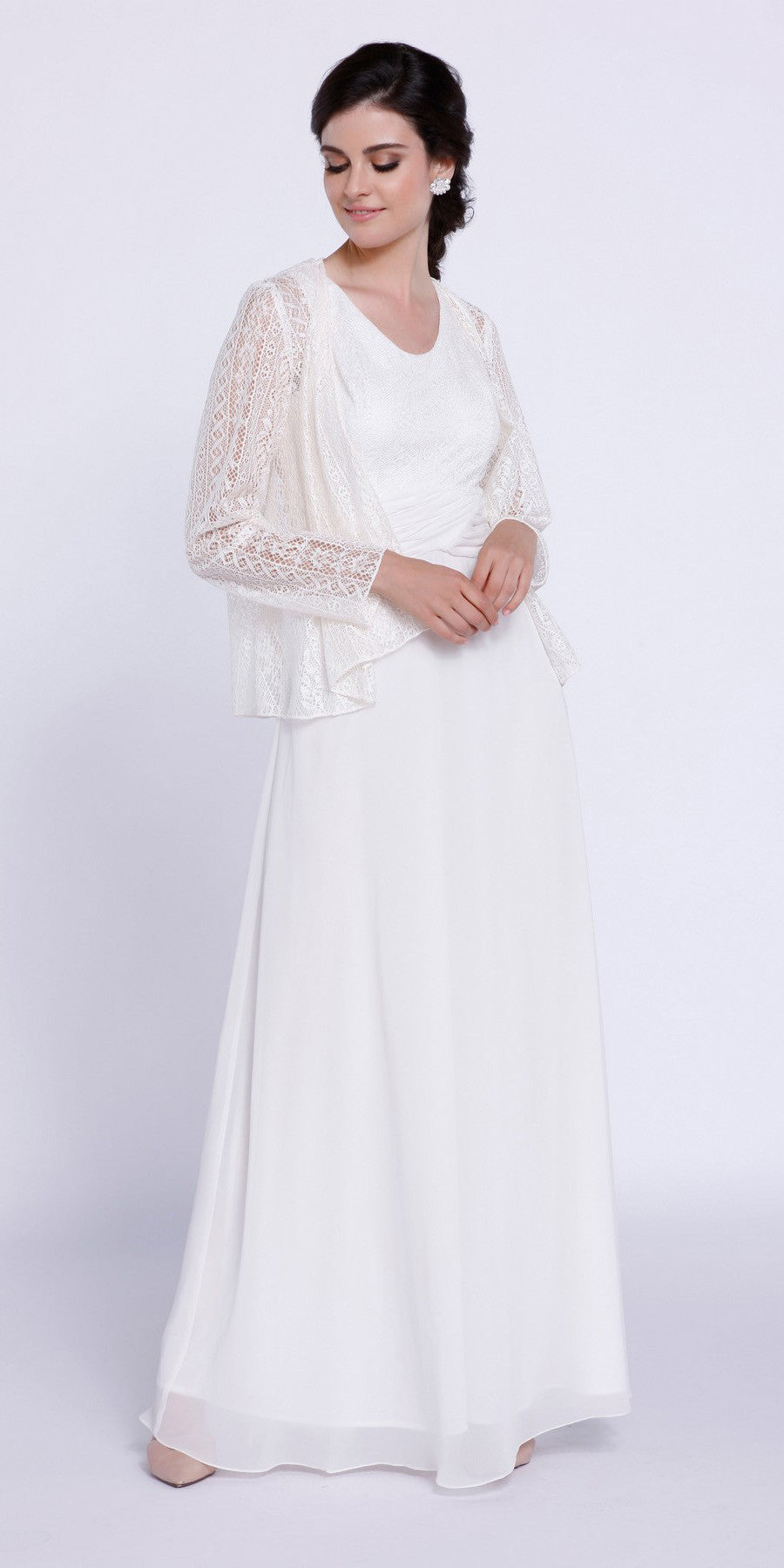 Long Ivory Dress Scoop Neck A-Line Sleeveless with Lace Jacket