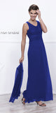 Long Royal Blue Dress Scoop Neck A-Line Sleeveless with Lace Jacket