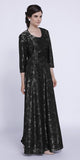 Long Metallic Black/Silver Lace Scoop Neck A-Line Dress Matching Bolero