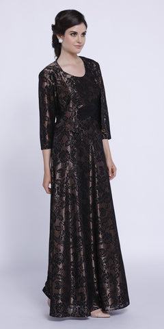 Penny Metallic Lace Scoop Neck A-Line Dress Matching Bolero