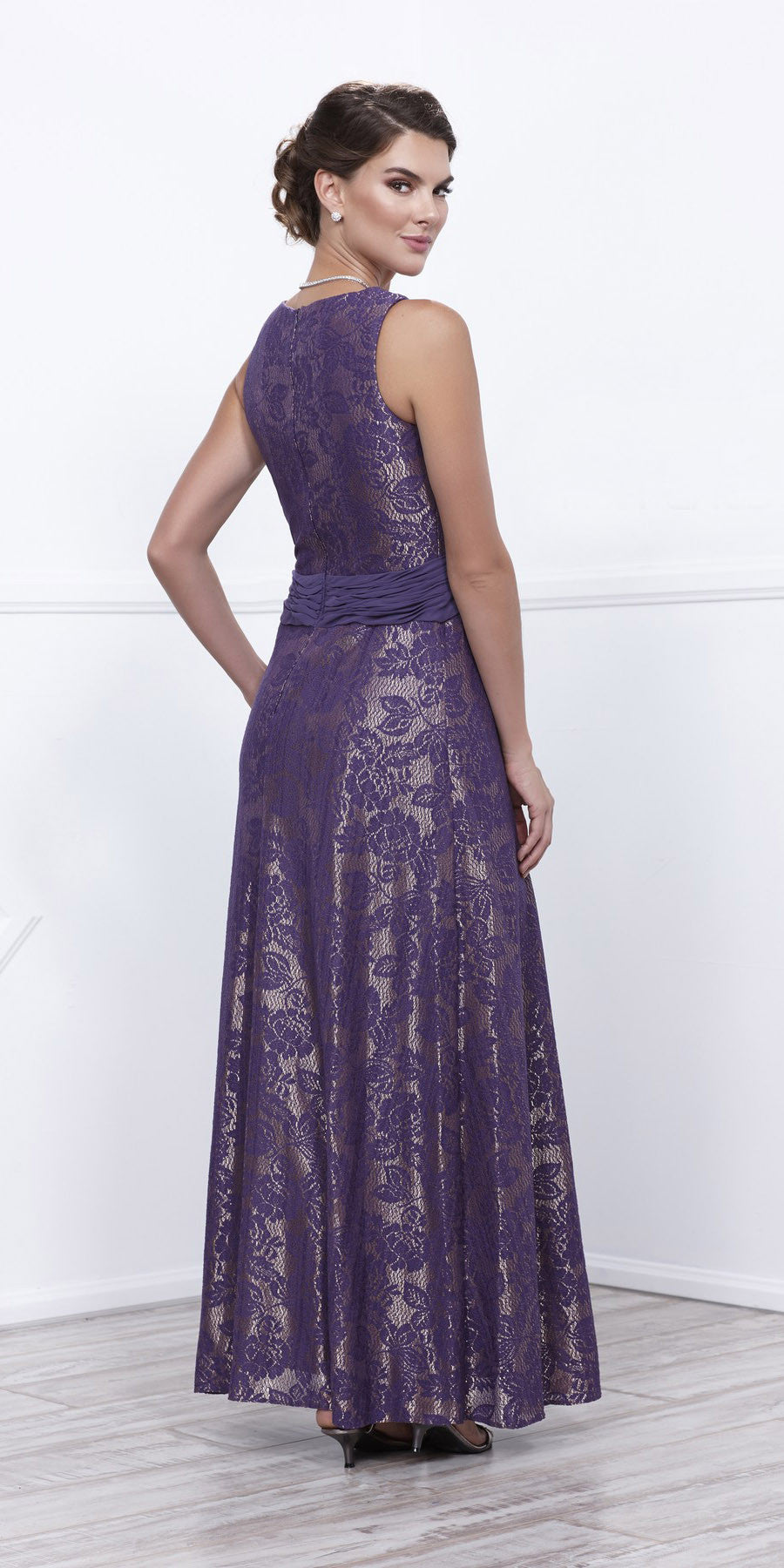 Violet Gold Metallic Lace Scoop Neck A-Line Dress Matching Bolero Back View