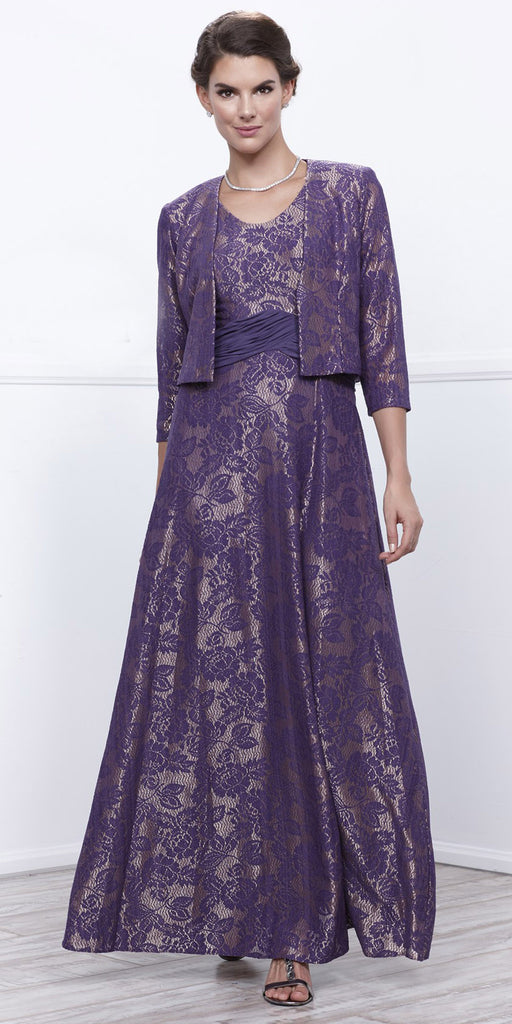 Violet Gold Metallic Lace Scoop Neck A-Line Dress Matching Bolero