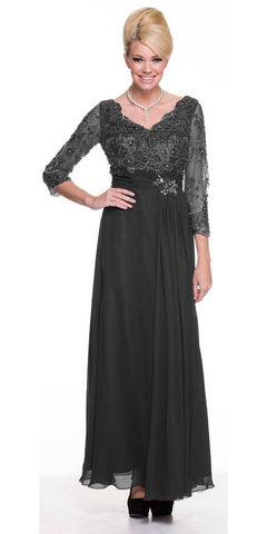 Modest Black Long Formal Dress Lace Sleeves Mid Length V Neck