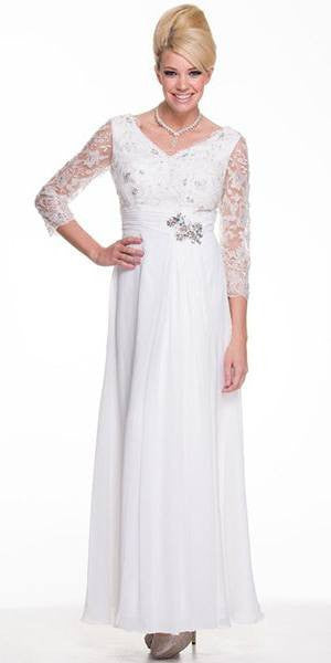 Modest Off White Long Formal Dress Lace Sleeves Mid Length V Neck