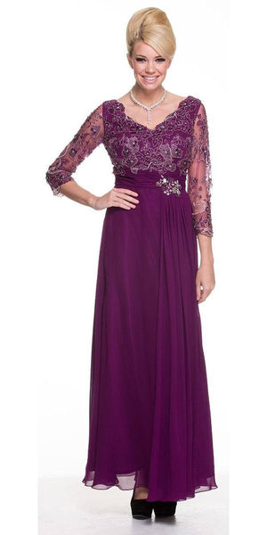 Modest Plum Long Formal Dress Lace Sleeves Mid Length V Neck