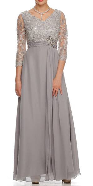 Modest Silver Long Formal Dress Lace Sleeves Mid Length V Neck