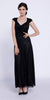 V-Neck Ruched Bodice Lace Formal Dress Black With Matching Bolero