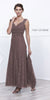 V-Neck Ruched Bodice Lace Formal Dress Mocha With Matching Bolero