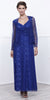 V-Neck Ruched Bodice Lace Formal Dress Royal With Matching Bolero