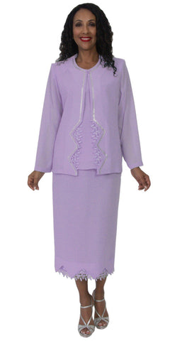 Hosanna 5141 Plus Size 3 Piece Set Lilac Tea Length Dress