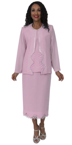 Hosanna 5141 Plus Size 3 Piece Set Pink Tea Length Dress