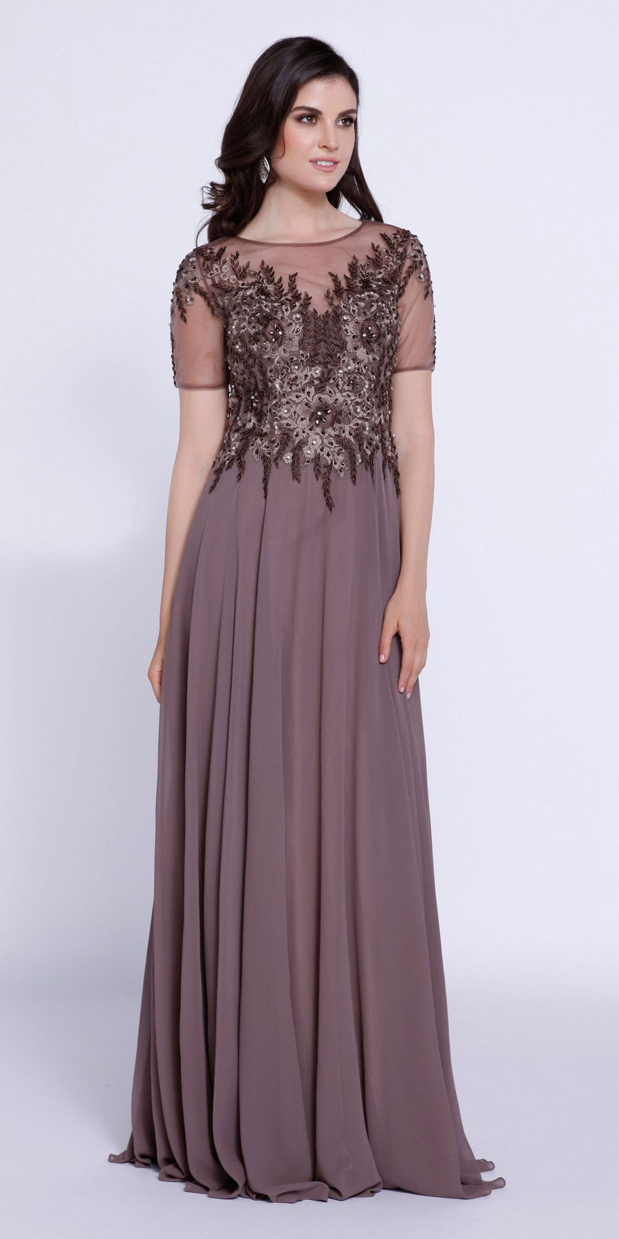 Short Sleeves Applique Bodice Floor Length Formal Dress Mocha