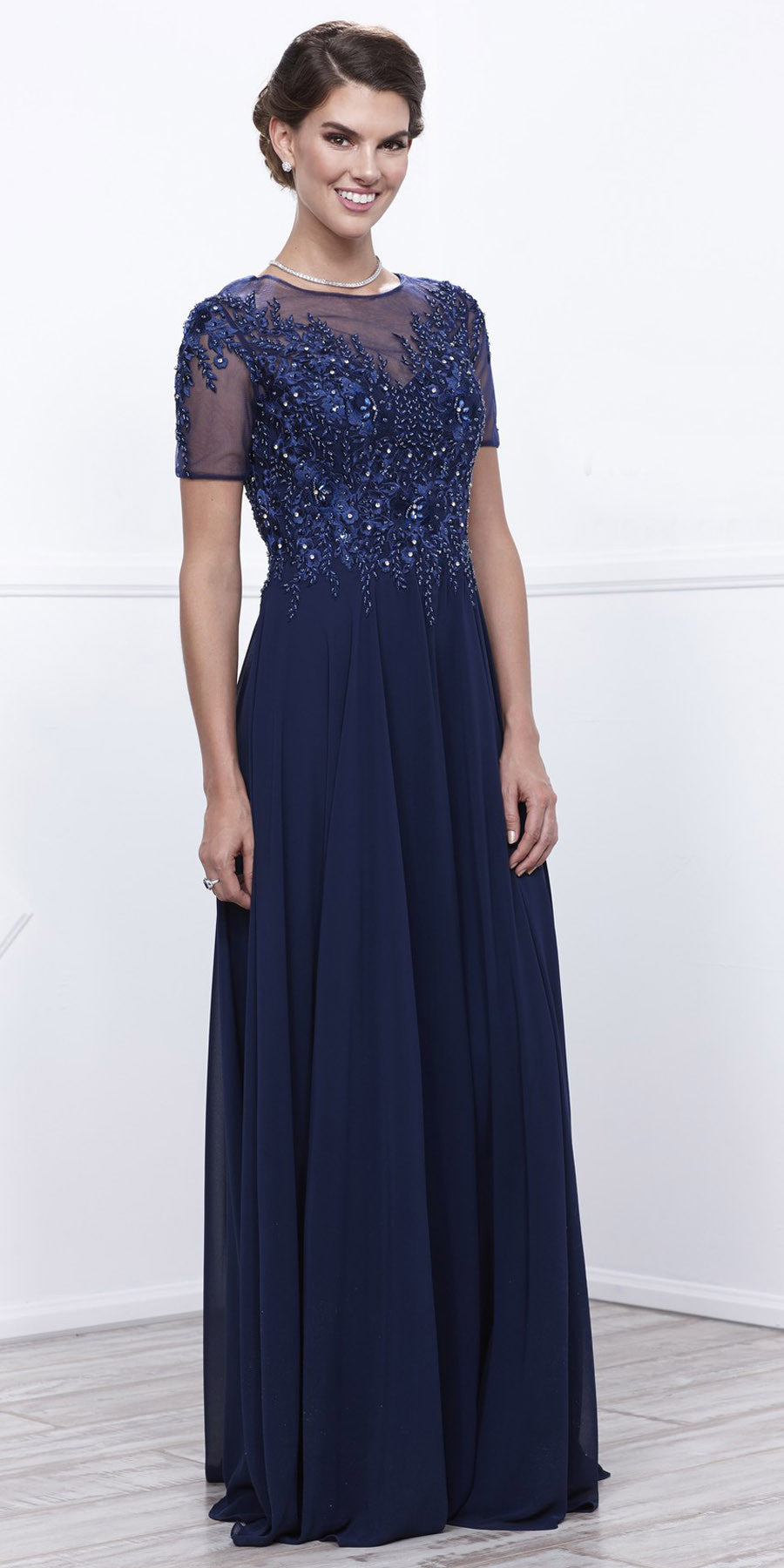 Short Sleeves Applique Bodice Floor Length Formal Dress Navy Blue