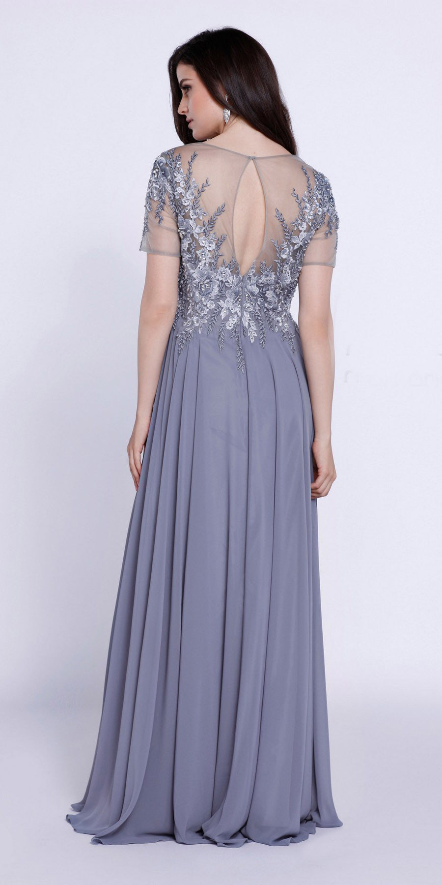Short Sleeves Applique Bodice Floor Length Formal Dress Silver
