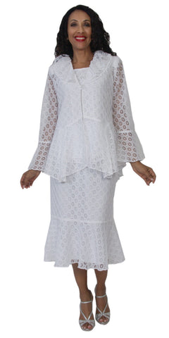 Hosanna 5142 Plus Size 3 Piece Set White Tea Length Dress