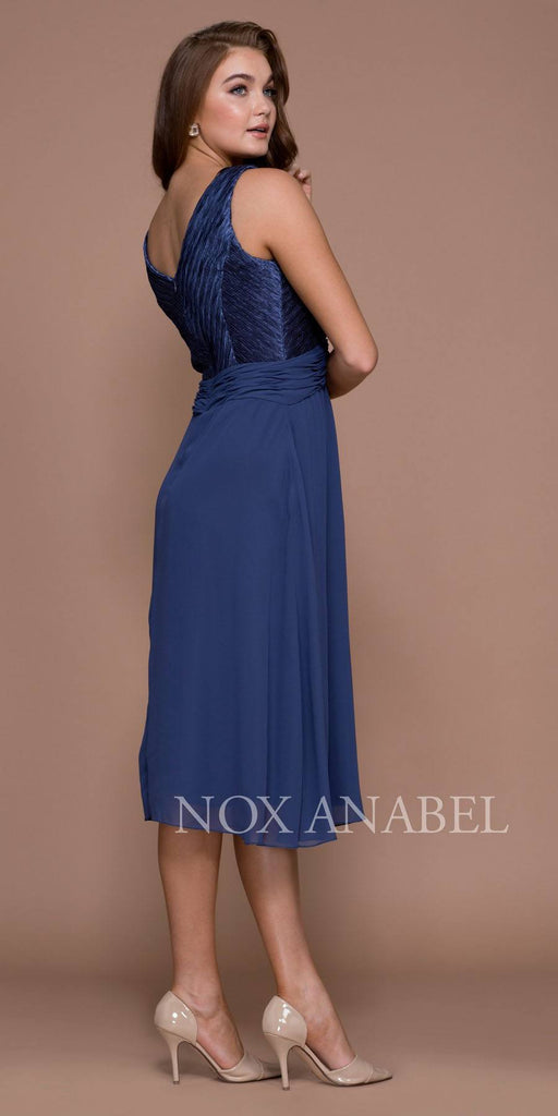 Deep Blue Knee Length V-Neck Chiffon Dress with Bolero Jacket Back View