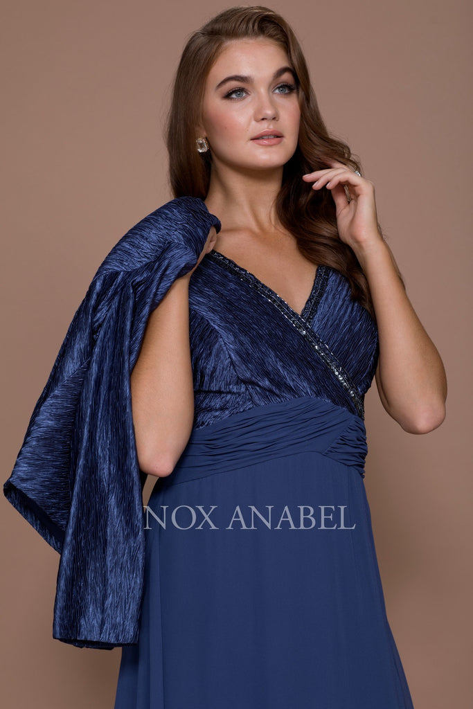 Deep Blue Knee Length V-Neck Chiffon Dress with Bolero Jacket Zoom