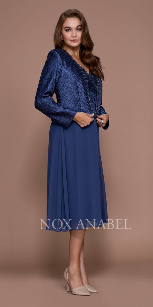 Deep Blue Knee Length V-Neck Chiffon Dress with Bolero Jacket