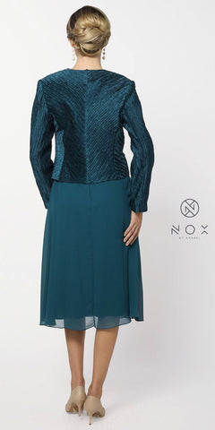 Teal Knee Length V-Neck Chiffon Dress with Bolero Jacket