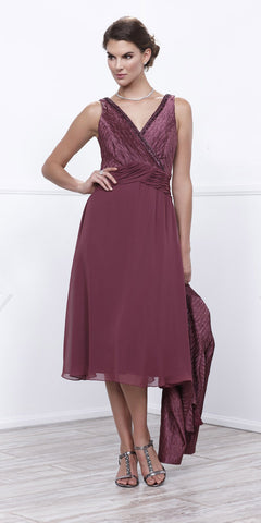 Rosewood Knee Length V-Neck Chiffon Dress with Bolero Jacket