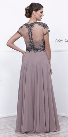 Blush Tan Embroidered Bodice Short Sleeves Long Formal Dress Back View