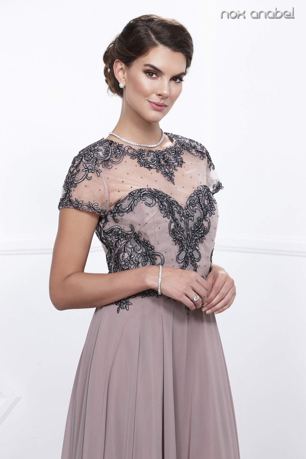 Blush Tan Embroidered Bodice Short Sleeves Long Formal Dress