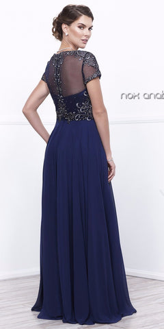 Navy Blue Embroidered Bodice Short Sleeves Long Formal Dress