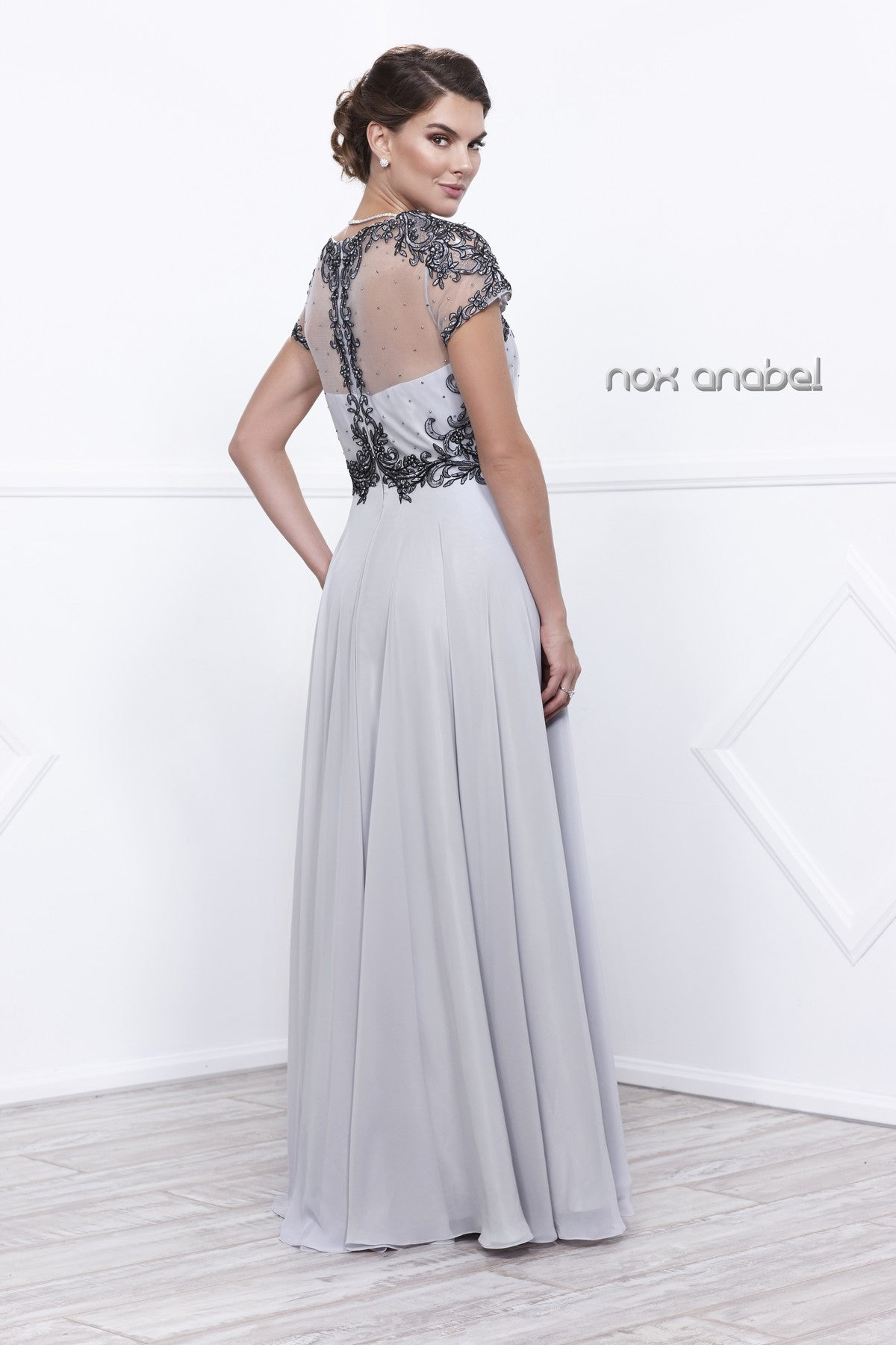 Silver Embroidered Bodice Short Sleeves Long Formal Dress Back View