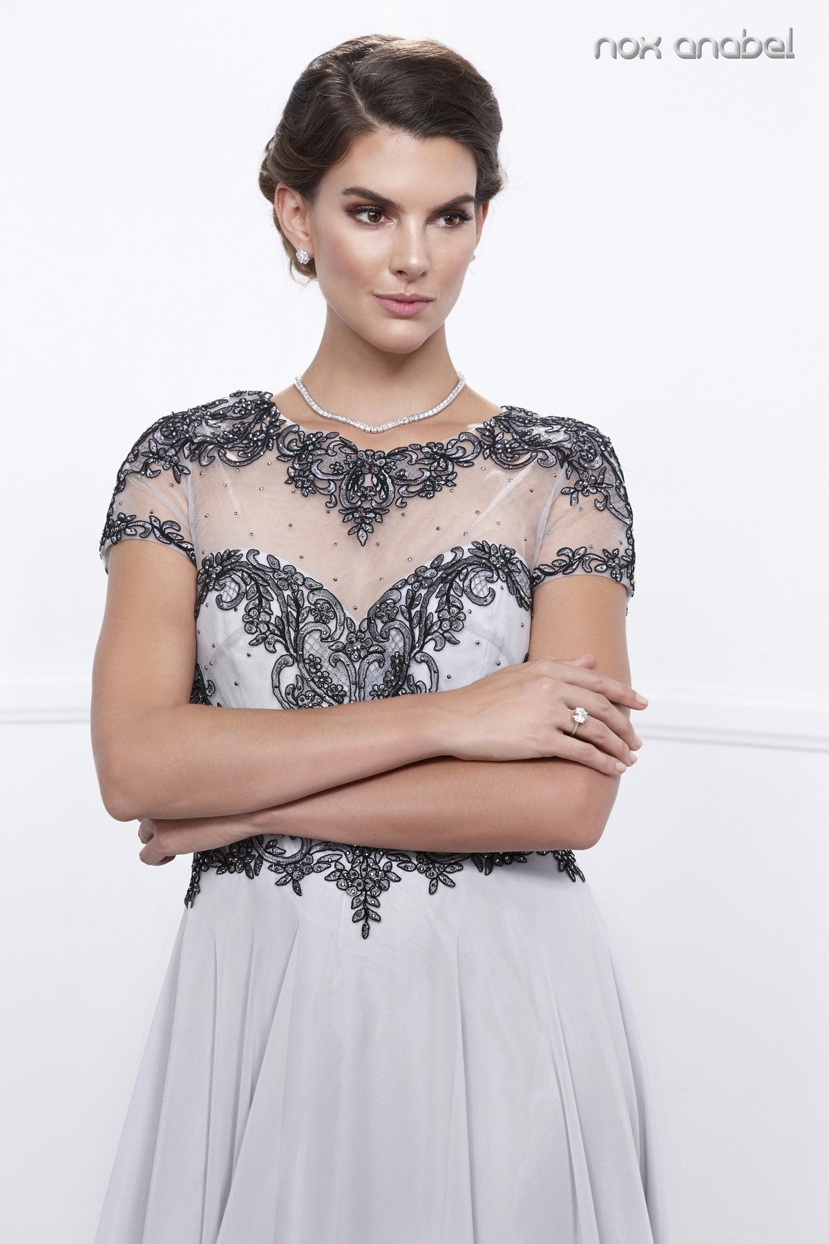 Silver Embroidered Bodice Short Sleeves Long Formal Dress