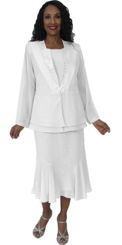 Hosanna 5144 Plus Size 3 Piece Set White Tea Length Dress