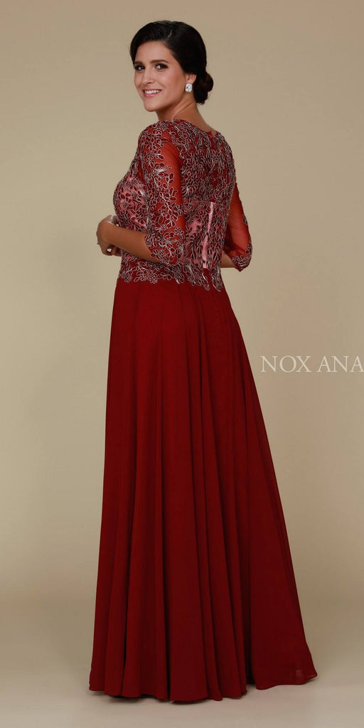 Mid Sleeves Embroidered V-Neck Floor Length Formal Dress Burgundy Back View