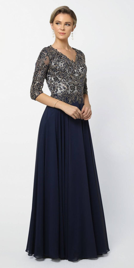 Mid Sleeves Embroidered V-Neck Floor Length Formal Dress Navy Blue
