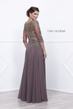 Mid Sleeves Embroidered V-Neck Floor Length Formal Dress Mocha Back View