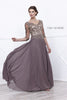 Mid Sleeves Embroidered V-Neck Floor Length Formal Dress Mocha