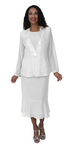 Hosanna 5145 Plus Size 3 Piece Set White Tea Length Dress