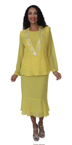 Hosanna 5145 Plus Size 3 Piece Set Yellow Tea Length Dress