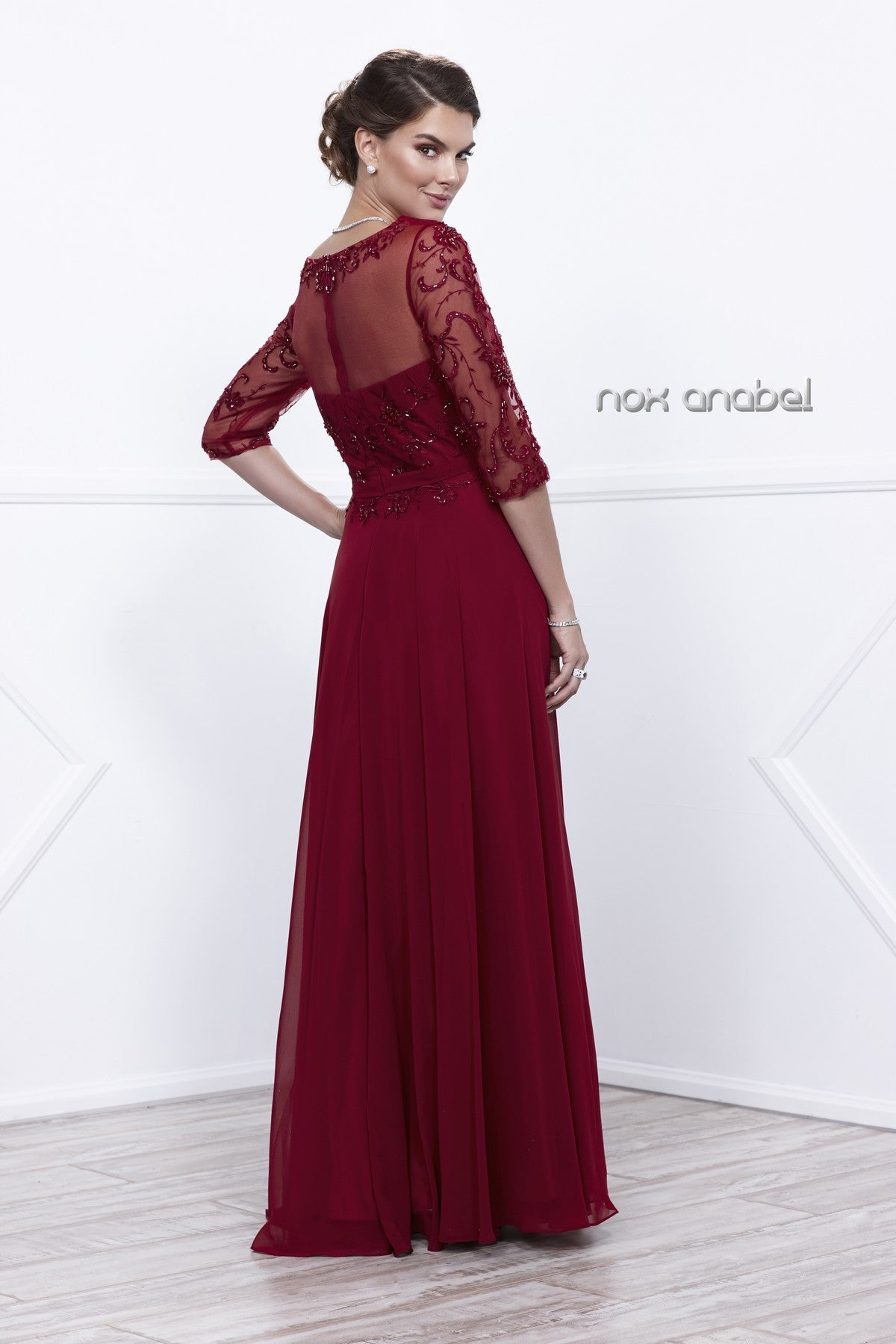 Burgundy Sheer Quarter Sleeves Illusion Embroidered Formal Dress Back View