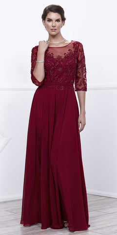 Burgundy Sheer Quarter Sleeves Illusion Embroidered Formal Dress
