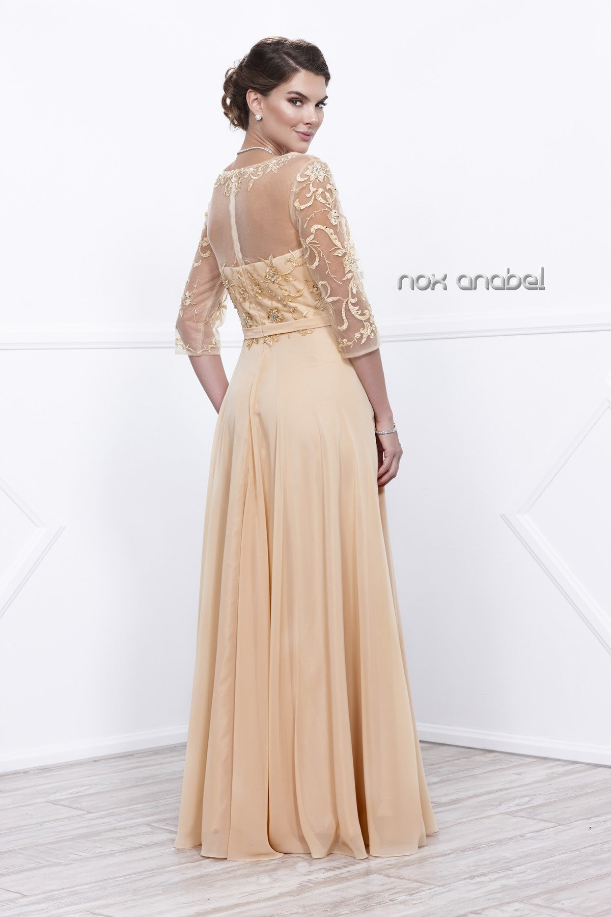 Gold Sheer Quarter Sleeves Illusion Embroidered Formal Dress Back View
