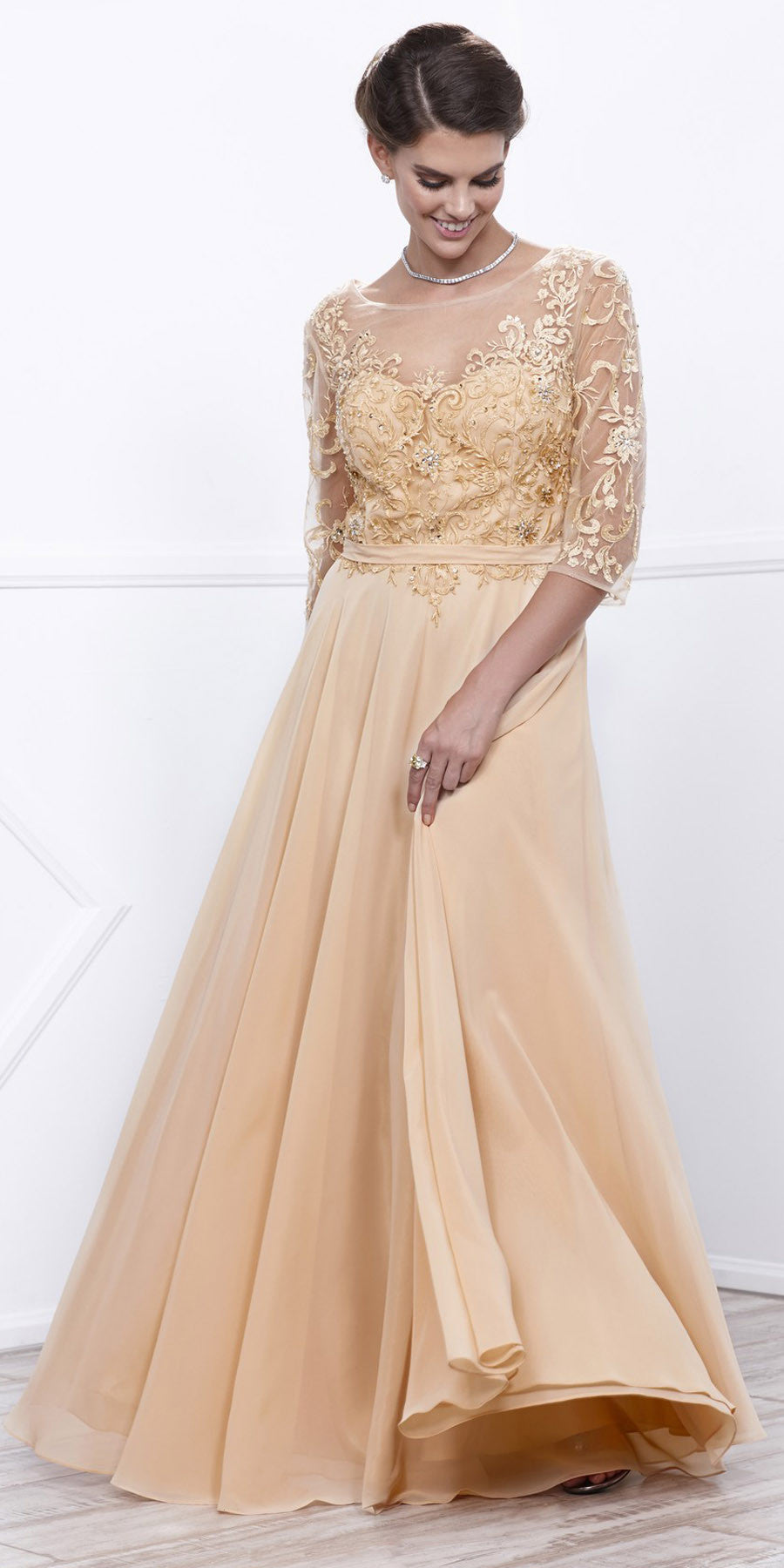 Gold Sheer Quarter Sleeves Illusion Embroidered Formal Dress