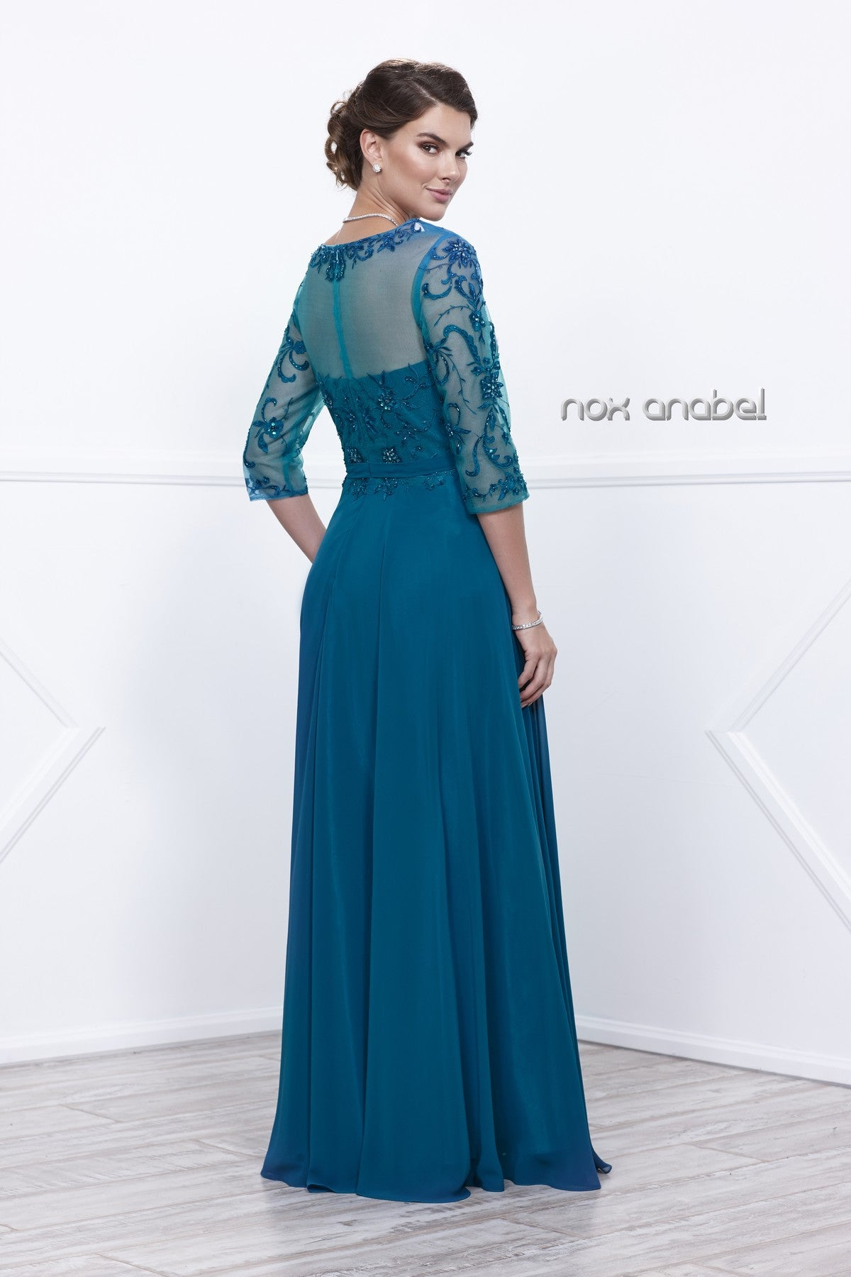 Teal Sheer Quarter Sleeves Illusion Embroidered Formal Dress Back View