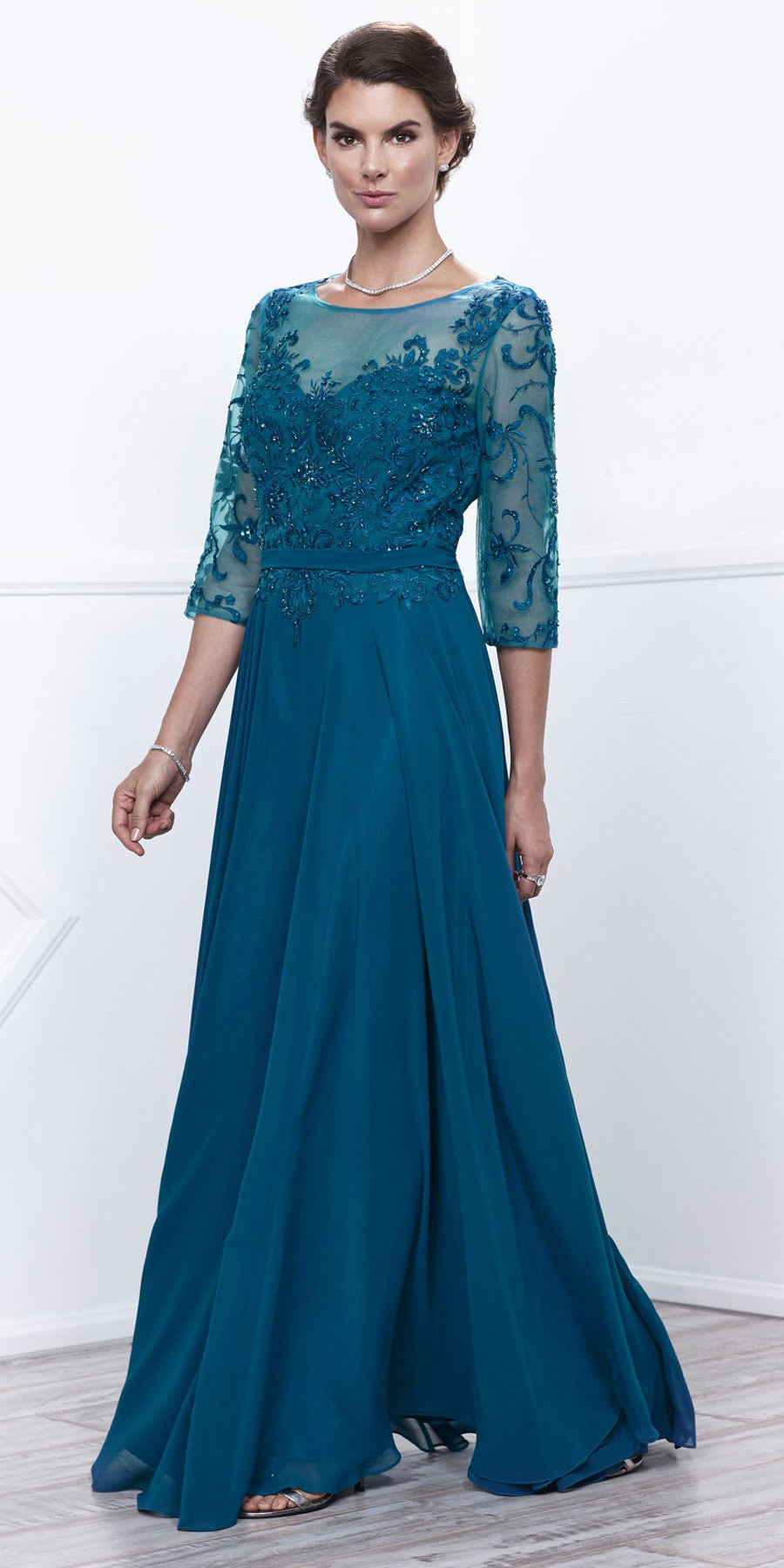 Teal Sheer Quarter Sleeves Illusion Embroidered Formal Dress