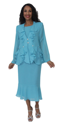 Hosanna 5146 Plus Size 3 Piece Set Aqua Tea Length Dress