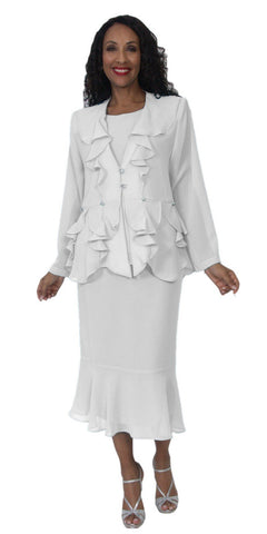 Hosanna 5146 Plus Size 3 Piece Set White Tea Length Dress