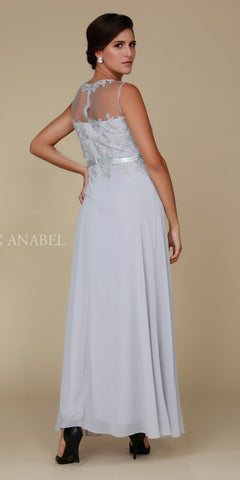 Nox Anabel 5146 Silver Illusion Appliqued Bodice Belted Formal Dress with Jacket Back View