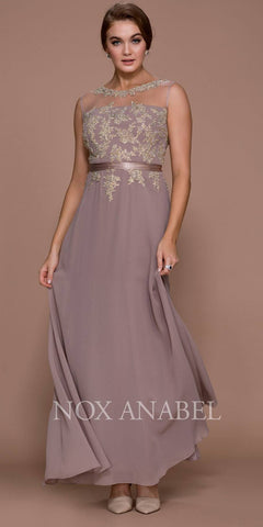 a539664659c Nox Anabel 5146 Tan Illusion Appliqued Bodice Belted Formal Dress with  Jacket Back View