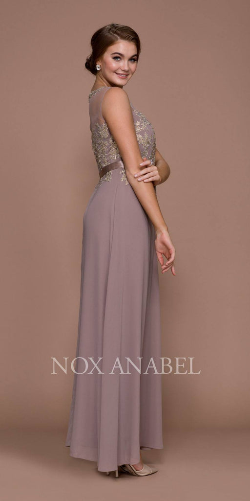 Nox Anabel 5146 Tan Illusion Appliqued Bodice Belted Formal Dress with Jacket Side View