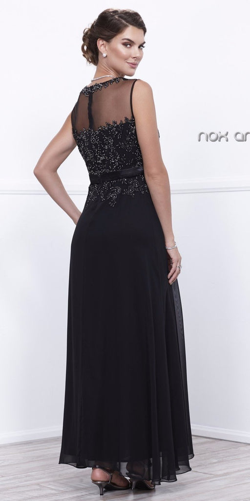 Nox Anabel 5146 Black  Illusion Appliqued Bodice Belted Formal Dress with Jacket Back View