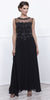Nox Anabel 5146 Black  Illusion Appliqued Bodice Belted Formal Dress with Jacket