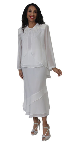 Hosanna 5147 Plus Size 3 Piece Set White Tea Length Dress